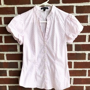 Express Tops - Express short sleeve blouse with bubble sleeves